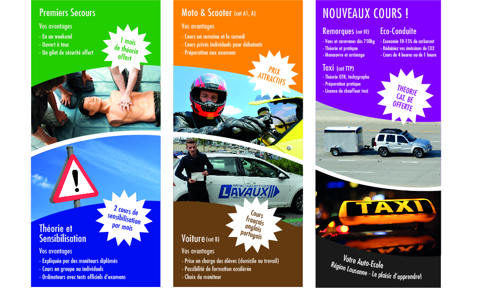 Flyer auto ecole Lausanne Pully